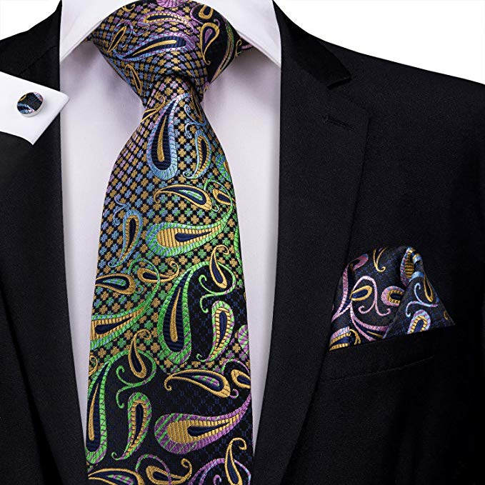 Blue Green and Purple Necktie Set-LBW426