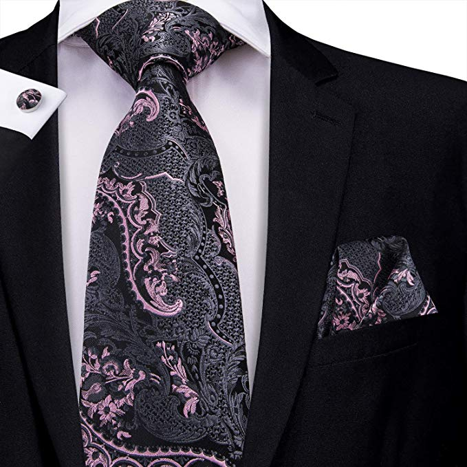 Black Pink Grey Silk Paisley Necktie Set-LBW430