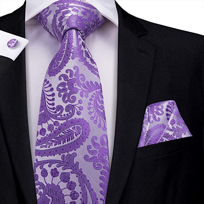 Purple Silk Necktie Set-LBW432