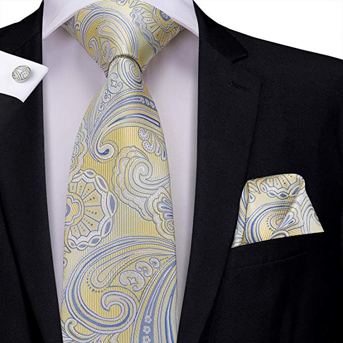 Yellow and Blue Paisley Necktie Set-LBW435