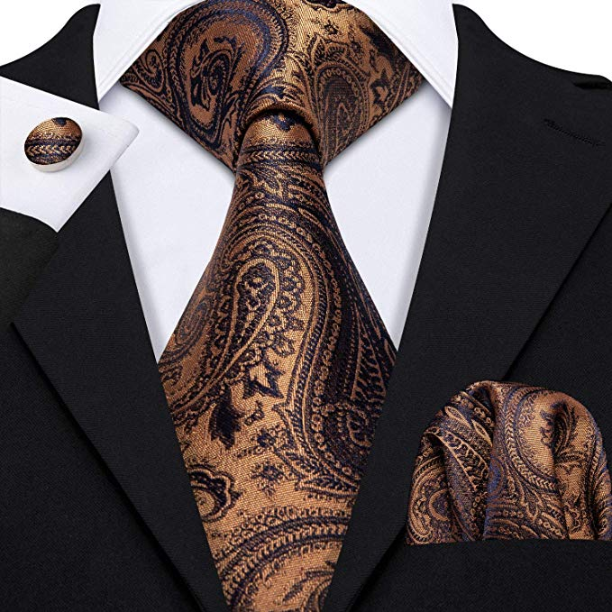 Gold and Blue Paisley Necktie Set -LBW437
