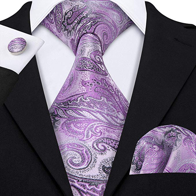 Lt. Purple Paisley Necktie Set-LBW449