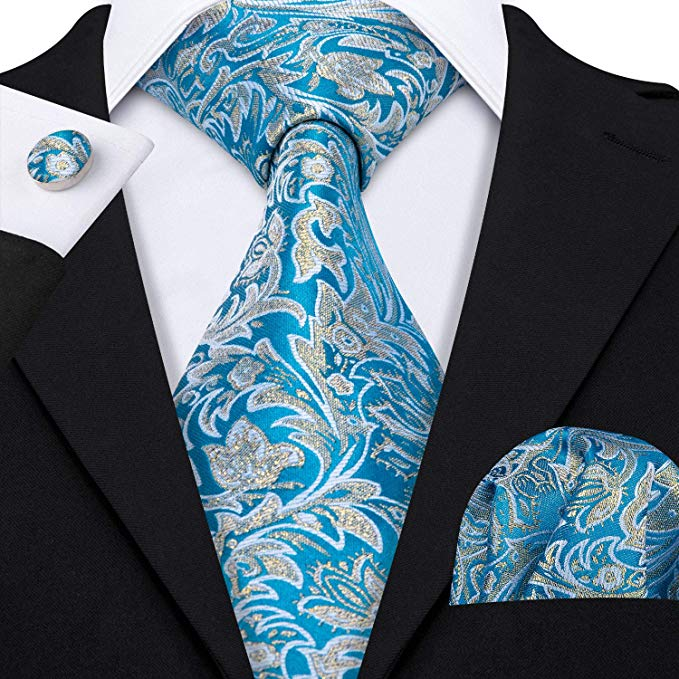 Blue and Gold Paisley Necktie Set -LBW450