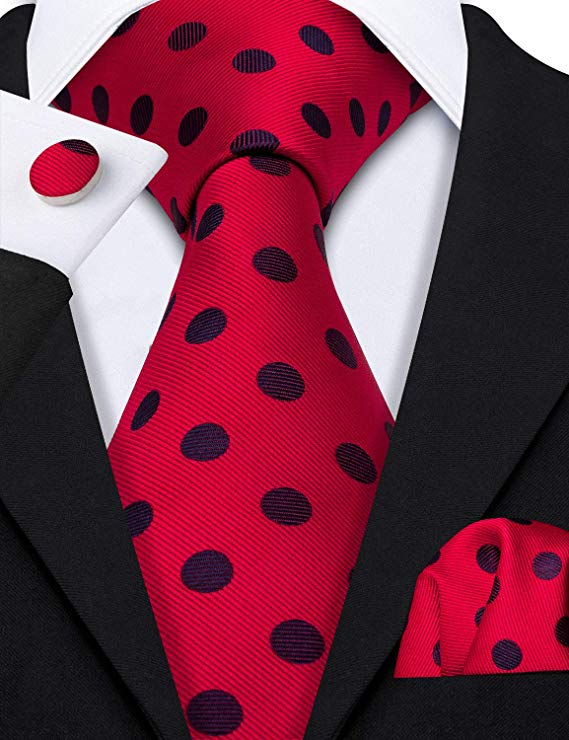 Black and Red Polka Dot Necktie Set-LBW451