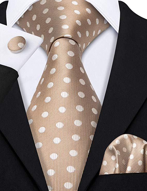 Coffee Brown Polka Dot Necktie Set-LBW452