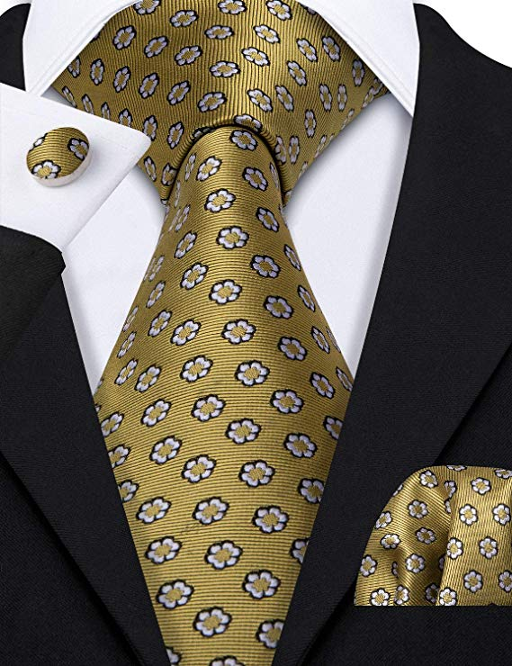 Gold and Black Necktie Set-LBW454
