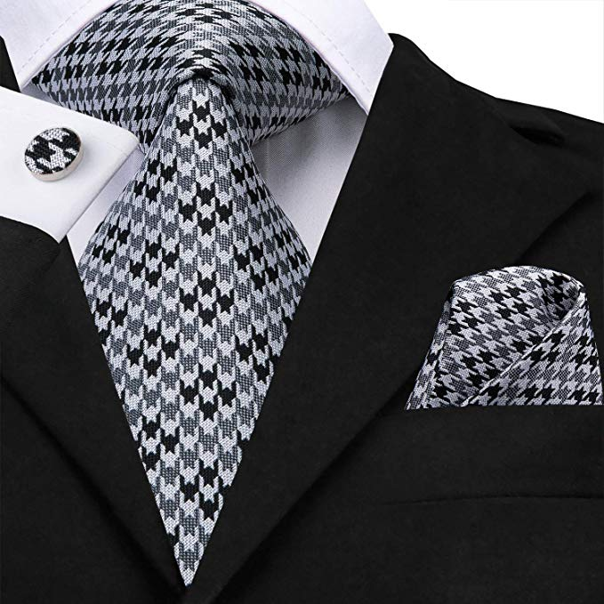 Grey and Black Silk Necktie Set-LBW459