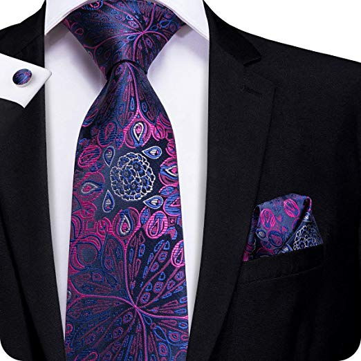 Blue,Purple and Pink Floral Tie Set LBW483