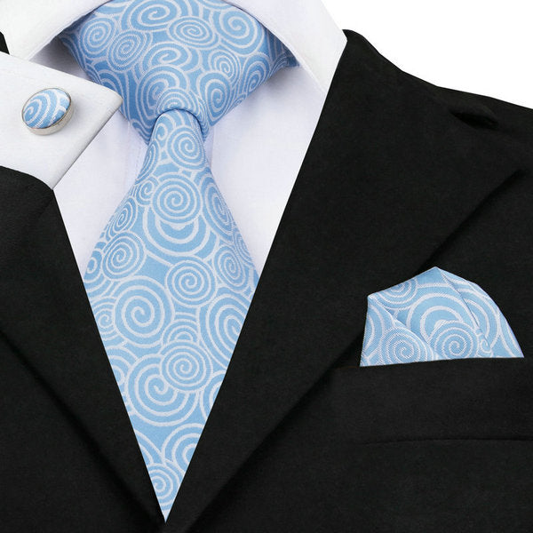 Sky Blue and White Necktie Set LBW488