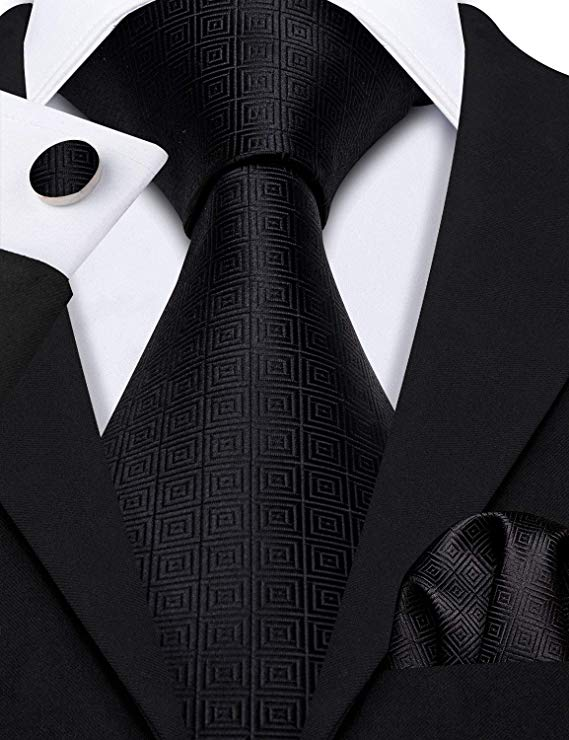 Black Silk Necktie Set-LBW496