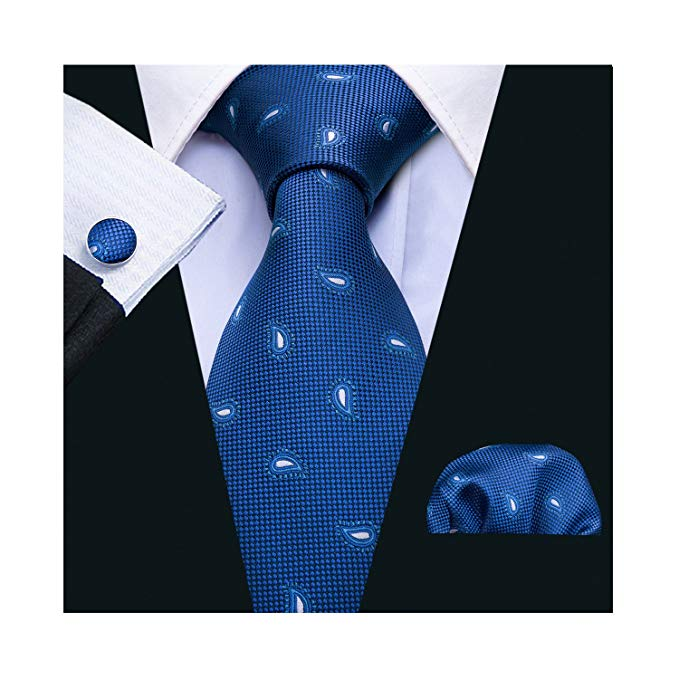 Royal Blue and White Paisley Necktie Set LBW5042