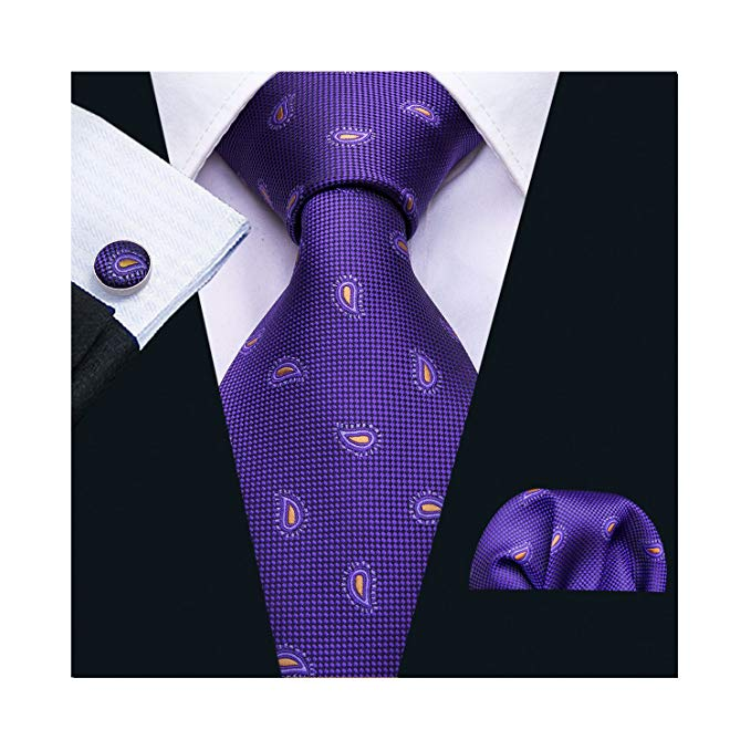 Dark Purple Silk Paisley Necktie Set LBW5044