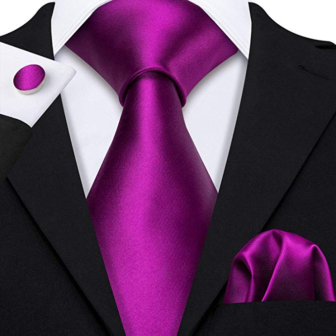 Purple Silk Solid Wedding Necktie Set-LBW505