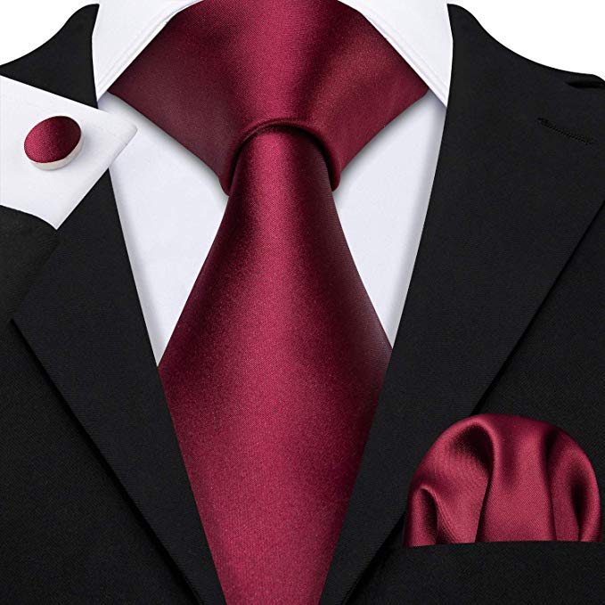 Burgundy Silk Wedding Necktie Set-LBW506
