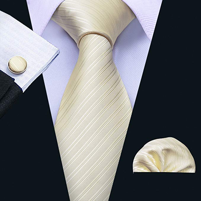 Beige Silk Wedding Necktie Set LBW5086