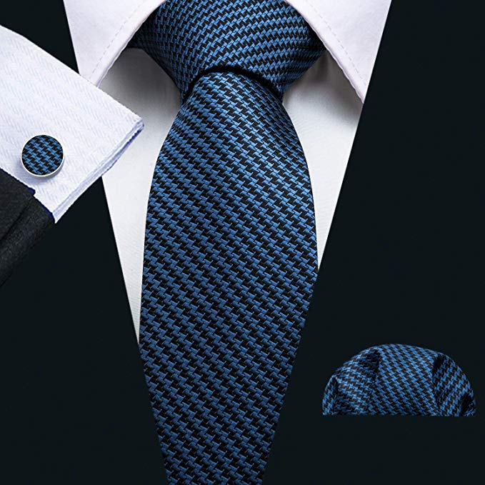 Blue and Black Hounds Tooth Necktie Set LBW5087