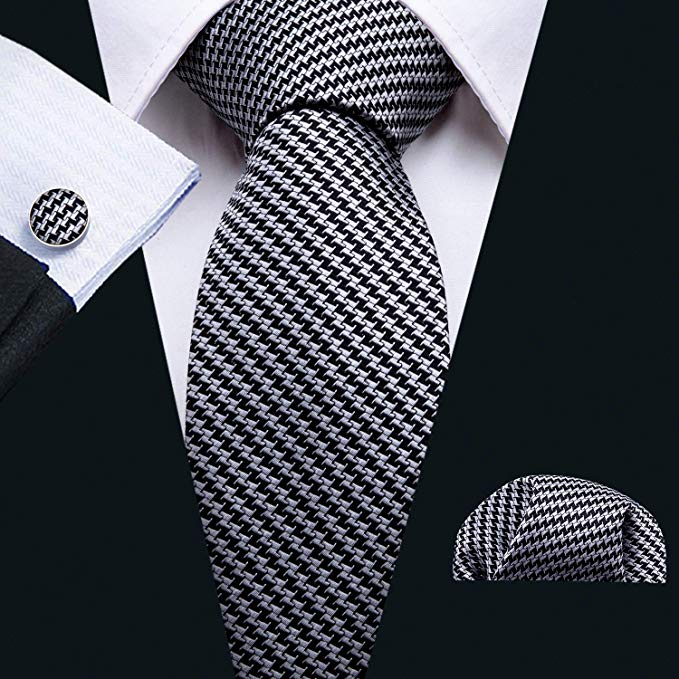 Black and Gray Hounds Tooth Tie Set LBW5091