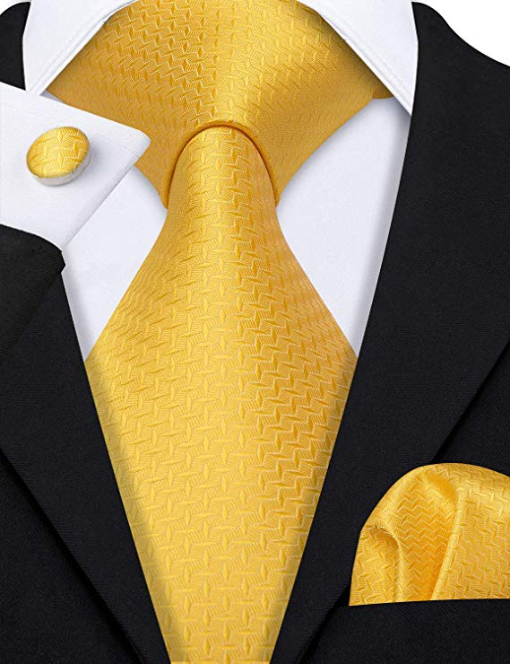 Yellow Silk Necktie Set-LBW509