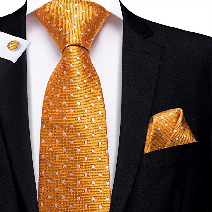 Orange Silk Polka Dot Necktie Set-LBW517