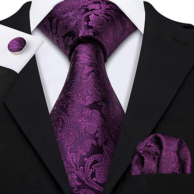 Purple Silk Paisley Necktie Set-LBW519