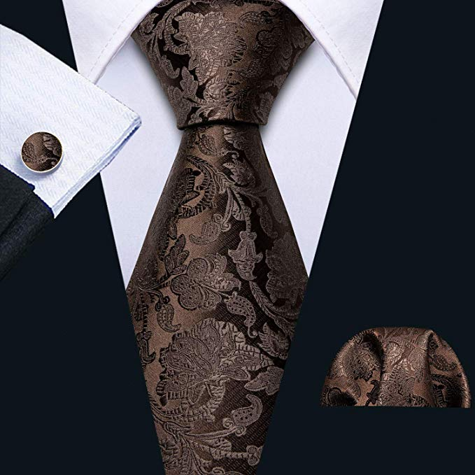 Dark Brown Paisley Necktie Set-LBW521