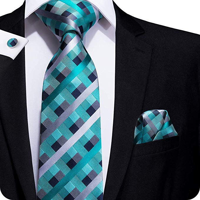Teal and Gray Plaid Necktie Set LBW553