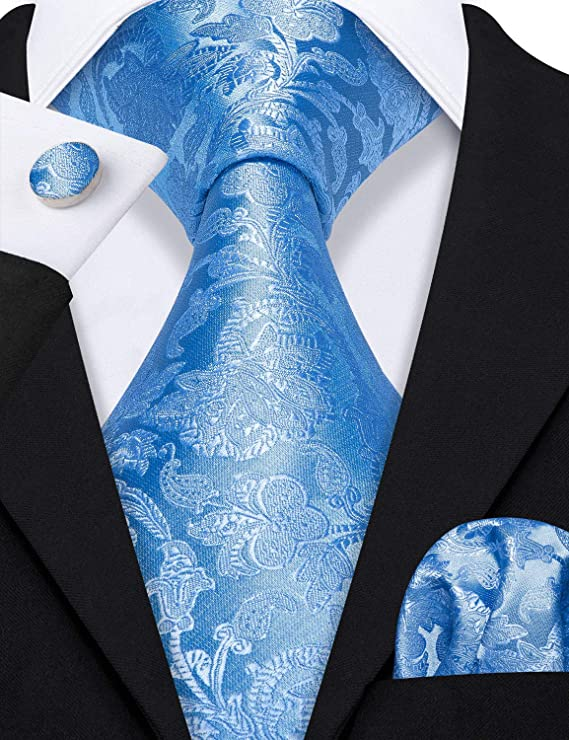Sky Blue Silk Necktie Set-LBW557