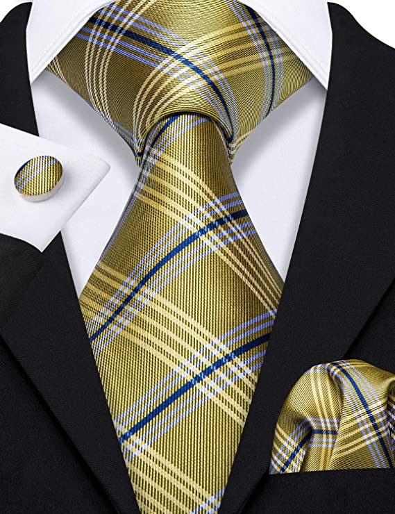 Gold and Blue Silk Necktie Set LBW-559