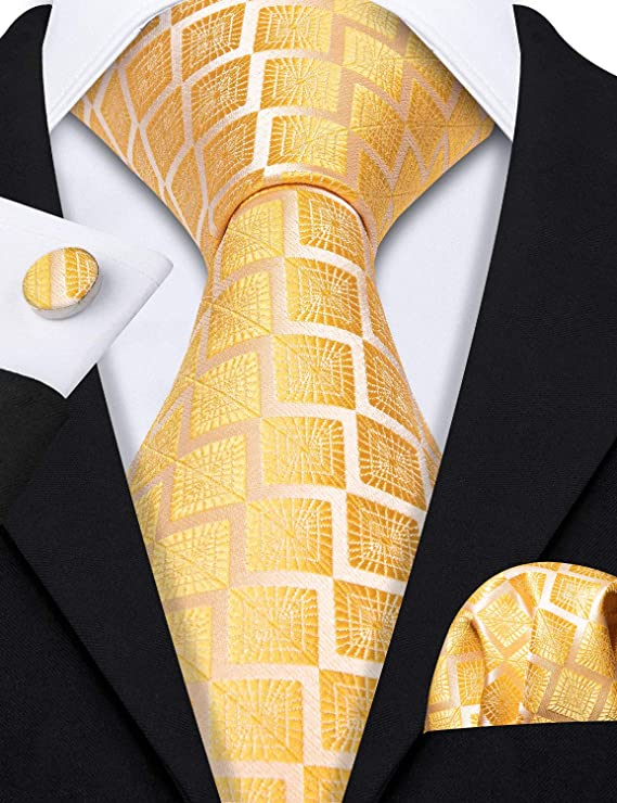 Yellow Gold Silk Necktie Set-LBW563