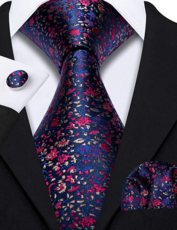 Blue Red Gold Floral Silk Necktie Set-LBW570