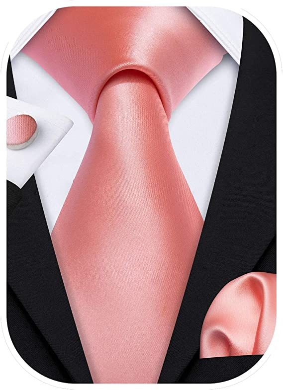 Coral Silk Solid Wedding Necktie Set-LBW592