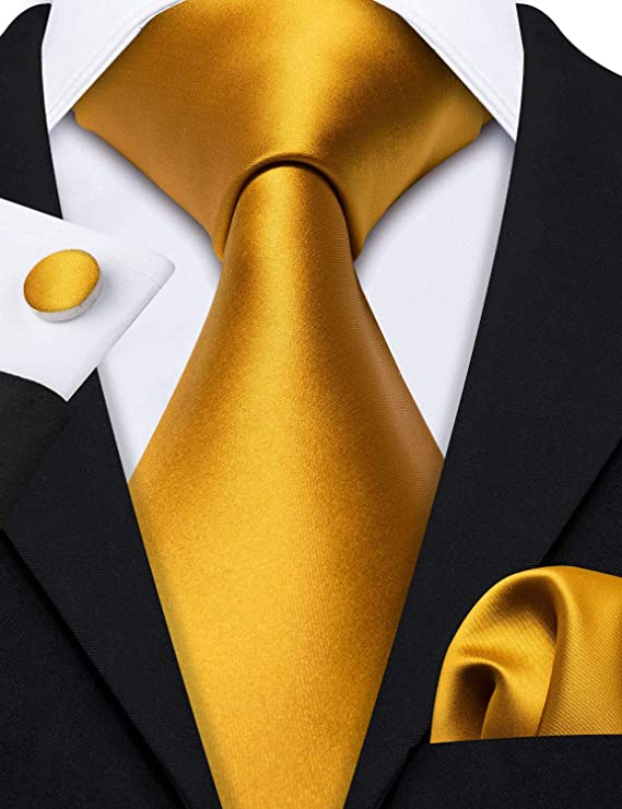 Gold Silk Solid Wedding Necktie Set-LBW598