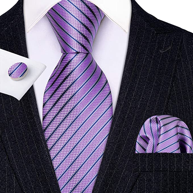 Lavender Blue Grey Silk Tie Set-LBW614