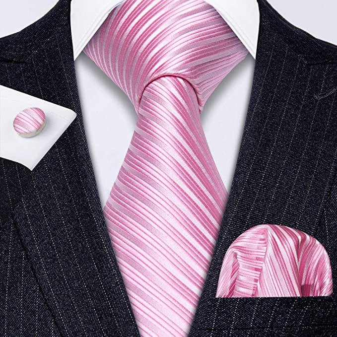 Pink and White Silk Tie Set-LBW620