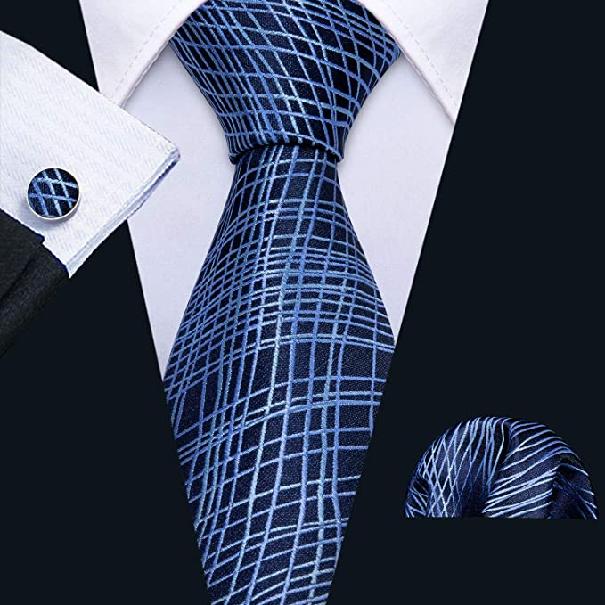 Blue Web Silk Necktie Set-LBW625