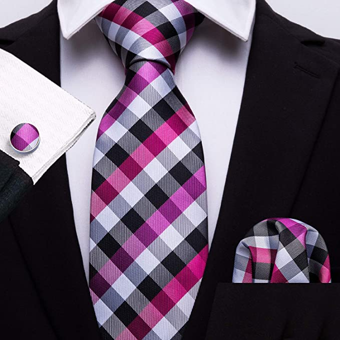 Pink Black White Silver Plaid Tie Set-LBW642