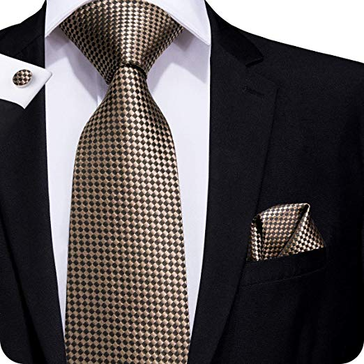 Geometric Brown Necktie Set LBW833