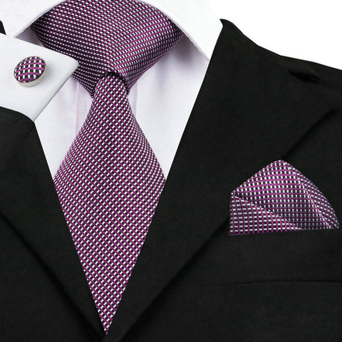 White Purple and Black Silk Tie Set LBW950