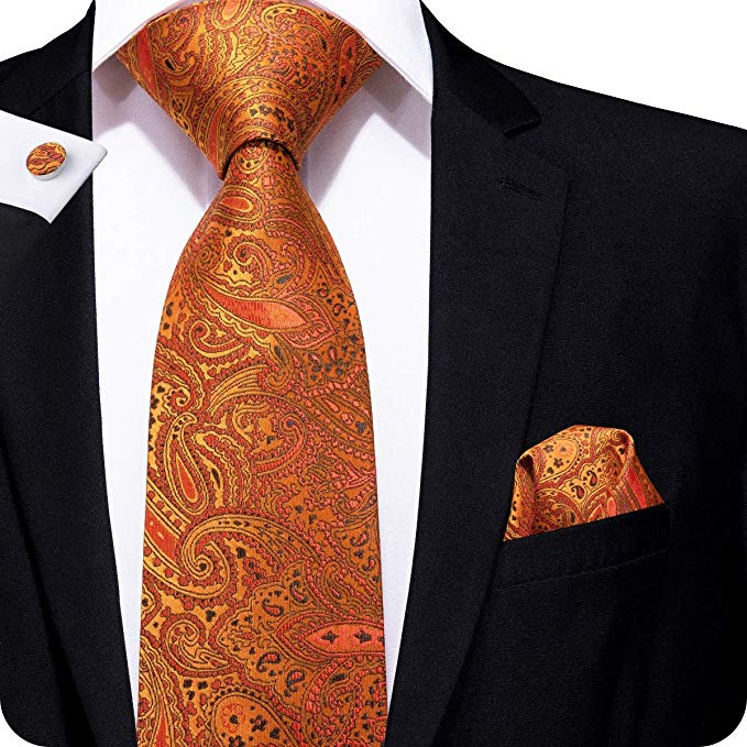 Orange,Black and Red Paisley Necktie Set LBW976