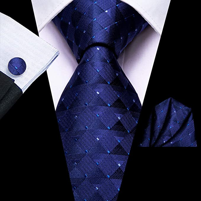 Navy Blue Silk Necktie Set-LBWH650