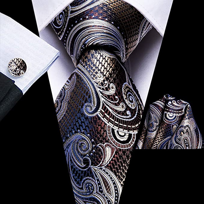 Brown Blue and Tan Silk Necktie Set-LBWH655