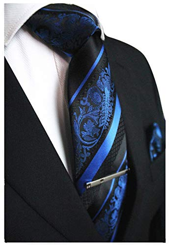 Blue and Black Striped Paisley Necktie Set MGN270