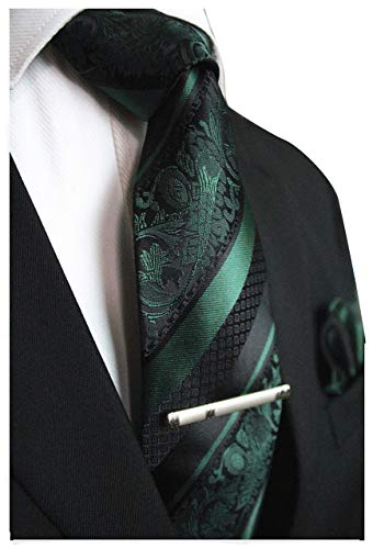 Dark Green and Black Striped Paisley Necktie Set MGN272