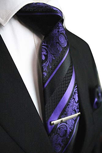 Purple and Black Striped Paisley Necktie Set MGN274