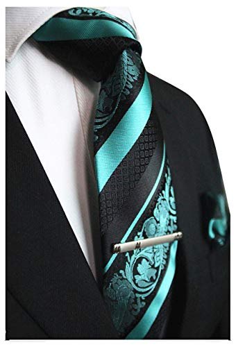 Turquoise and Black Striped Paisley Tie Set MGN275