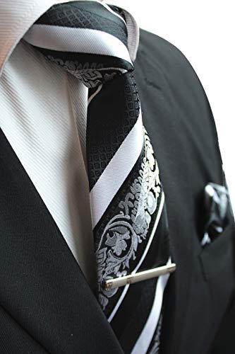 White and Black Striped Paisley Necktie Set MGN278