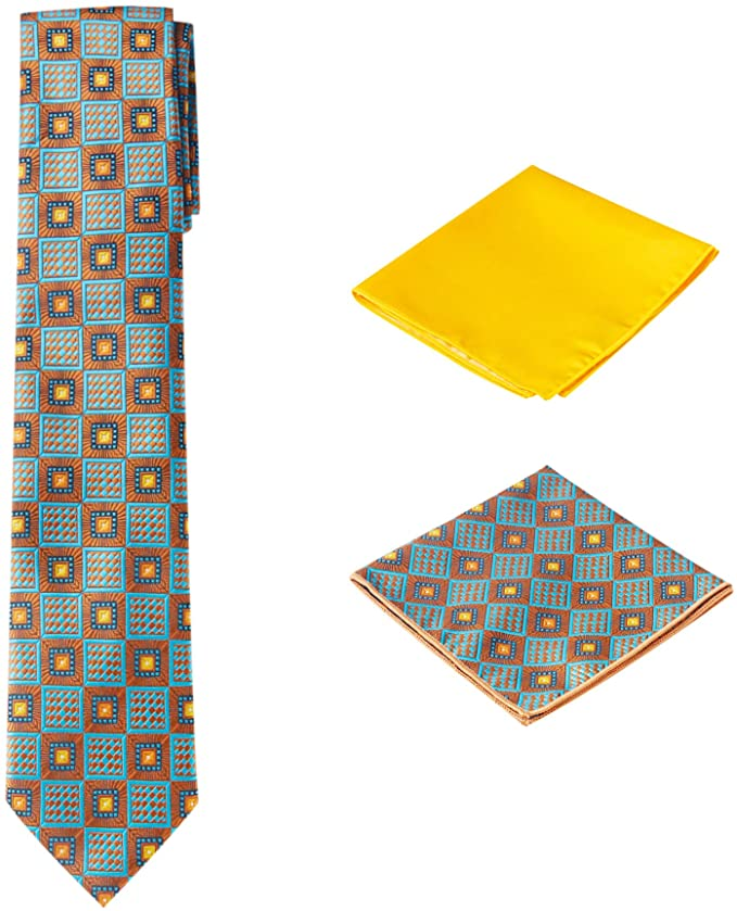 Brown and Yellow Necktie Set-PPS322