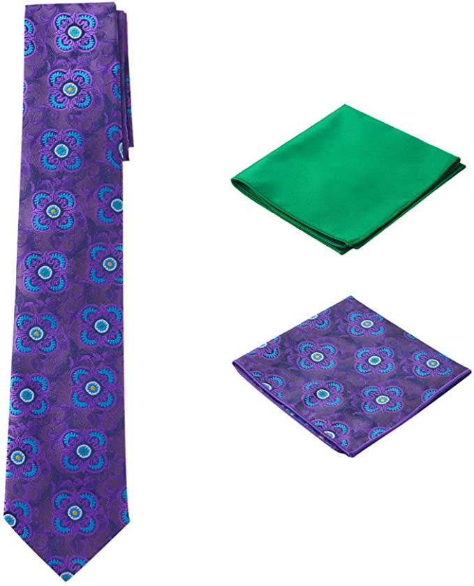 Purple Green Necktie Set-PPS329