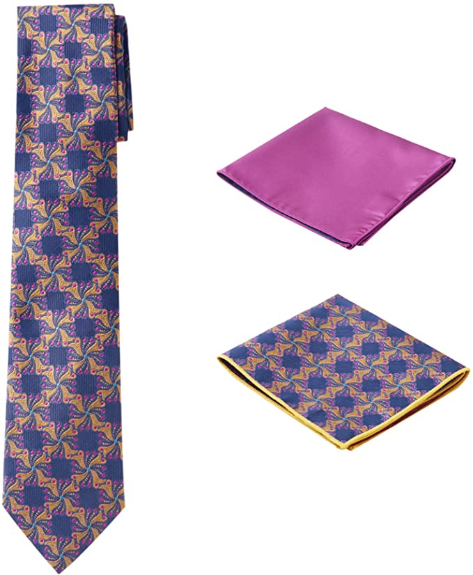 Blue Pink Gold Necktie Set-PPS