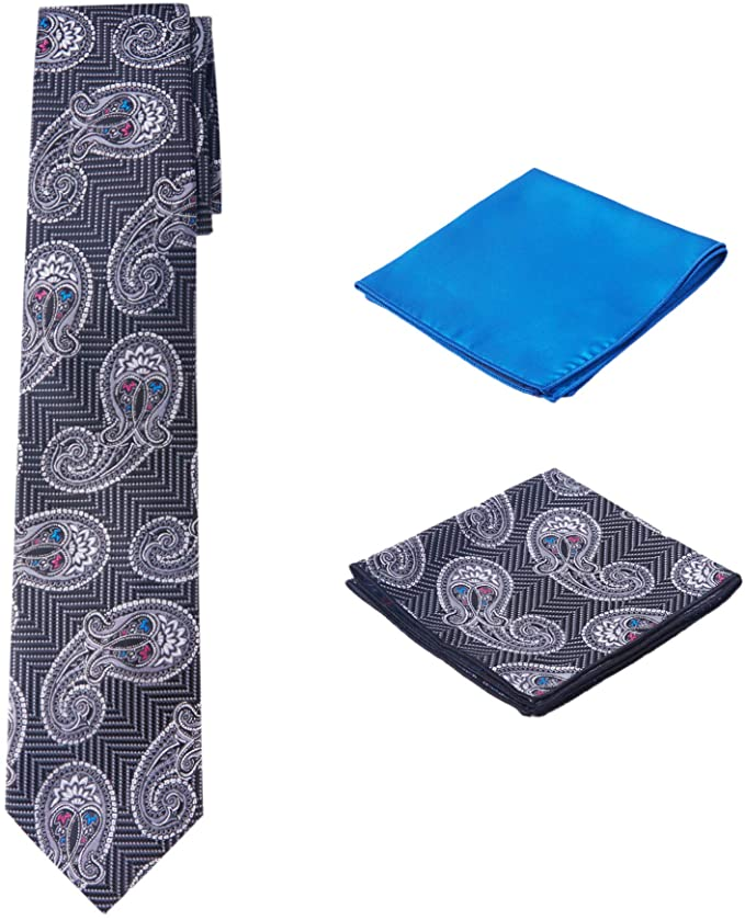 Black Blue Paisley Necktie Set-PPS331